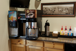 Free Coffee bar located in the lobby of Cody Legacy Inn